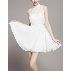 Custom High-Neck Sleeveless Lace Chiffon Short Wedding Dresses