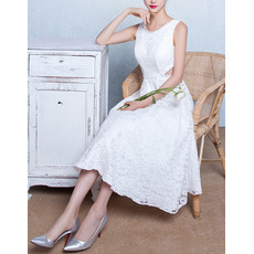 Discount Classic A-Line Sleeveless Tea Length Lace Wedding Dresses