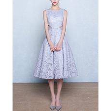 Classic A-Line Bateau Sleeveless Tea Length Lace Blue Wedding Dress