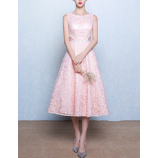 Classic A-Line Bateau Sleeveless Tea Length Lace Pink Wedding Dress
