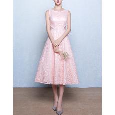 Classic A-Line Bateau Sleeveless Tea Length Lace Pink Wedding Dress