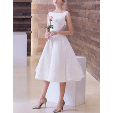 2018 Style A-Line Bateau Sleeveless Tea Length Lace Wedding Dresses