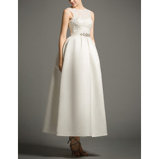 Inexpensive Ball Gown Tea Length Satin Reception Wedding Dresses