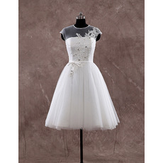 Custom A-Line Cap Sleeves Knee Length Organza Wedding Dresses