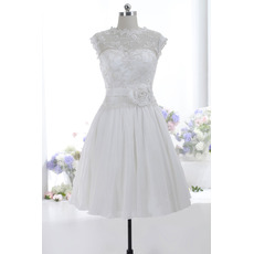 Discount A-Line Sleeveless Knee Length Taffeta Wedding Dresses