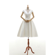 Custom V-Neck Knee Length Satin Wedding Dresses with Cap Sleeves
