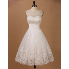 Custom A-Line Sleeveless Knee Length Organza Beading Wedding Dresses