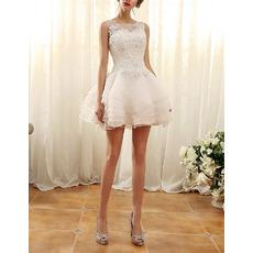 Affordable Sleeveless Mini/ Short Layered Skirt Wedding Dresses