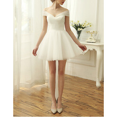 Elegant Off-the-shoulder Cap Sleeves Short Organza Wedding Dresses
