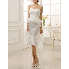 Custom Mermaid Sweetheart Knee Length Short Wedding Dress with Train