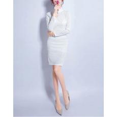 Sexy Sheath Mandarin Collar Short Lace Wedding Dress with Long Sleeves