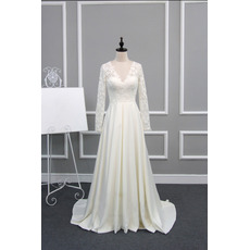 Custom V-Neck Sweep Train Wedding Dresses with Long Lace Sleeves