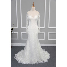 Sexy Sheath Sweetheart Lace Satin Wedding Dresses with Long Sleeves