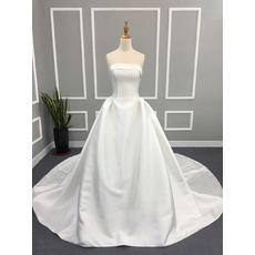 2019 Ball Gown Strapless Cathedral Train Satin Wedding Dresses