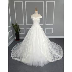 Elegant A-Line Off-the-shoulder Cathedral Lace Wedding Dresses