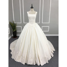 2019 Style Ball Gown Square Neck Chapel Train Satin Wedding Dresses