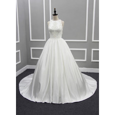 Discount Ball Gown Chapel Train Satin Wedding Dresses with Tassels