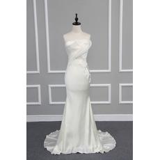 Sexy Sheath Strapless Sleeveless Sweep Train Satin Wedding Dresses