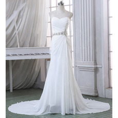 2017 New Style Sheath Sweetheart Court Train Chiffon Wedding Dresses