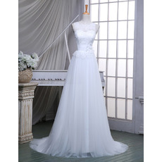 2018 New A-Line Sleeveless Sweep Train Wedding Dresses with Belts