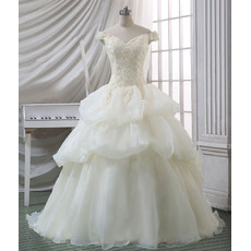 Discount Ball Gown Off-the-shoulder Court Train Organza Wedding Dress