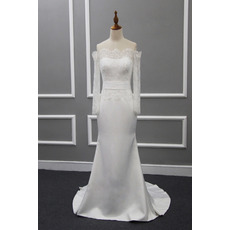 Custom Sheath Off-the-shoudler Wedding Dresses with Long Sleeves