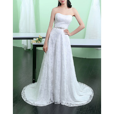 Discount Strapless Sleeveless Sweep Train Lace Wedding Dresses