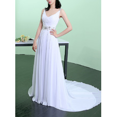 Vintage V-Neck Sleeveless Sweep Train Chiffon Pleated Wedding Dresses