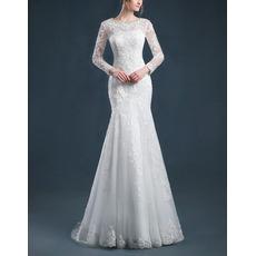 Custom Mermaid Sweep Train Organza Wedding Dresses with Long Sleeves