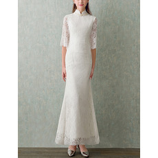 Custom Mandarin Collar Lace Wedding Dresses with Half Lace Sleeves
