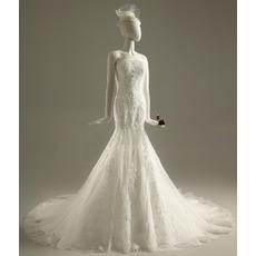 Custom Trumpet Strapless Sleeveless Organza Beading Wedding Dresses