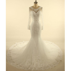Custom Trumpet Court Train Tulle Wedding Dresses with Long Sleeves