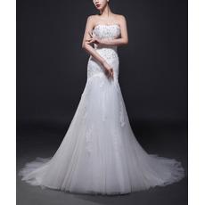 Custom Trumpet Strapless Sweep Train Satin Tulle Wedding Dresses