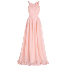 Affordable Floor Length Chiffon Bridesmaid Dresses with Straps