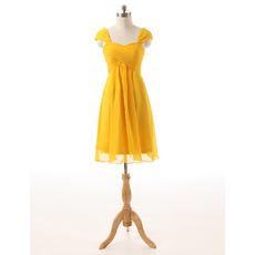 Custom Sweetheart Cap Sleeves Short Chiffon Bridesmaid Dresses