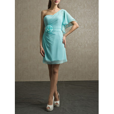 Affordable One Shoulder Short Chiffon Bridesmaid/ Wedding Party Dress