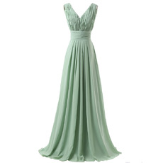 Elegant V-Neck Floor Length Chiffon Bridesmaid/ Wedding Party Dresses