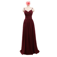 2018 Spaghetti Straps Sweetheart Floor Length Chiffon Bridesmaid Dress