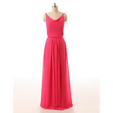 Affordable Floor Length Chiffon Bridesmaid Dress with Spaghetti Straps