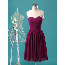 Custom Sweetheart Knee Length Chiffon Bridesmaid/ Homecoming Dresses