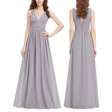 Affordable V-Neck Floor Length Chiffon Bridesmaid/ Wedding Party Dress