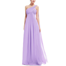 2018 New Style One Shoulder Floor Length Chiffon Bridesmaid Dresses