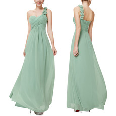 Custom One Shoulder Sweetheart Long Chiffon Bridesmaid Dresses