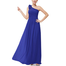 Inexpensive One Shoulder Floor Length Chiffon Bridesmaid Dresses