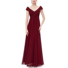 2017 V-Neck Floor Length Chiffon Bridesmaid Dresses with Cap Sleeves