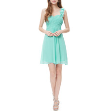 Affordable One Shoulder Sweetheart Short Chiffon Bridesmaid Dresses