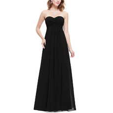 Vintage Sweetheart Floor Length Chiffon Black Bridesmaid Dresses