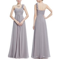Affordable One Shoulder Floor Length Chiffon Bridesmaid Dresses