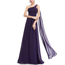 Elegant One Shoulder Floor Length Chiffon Bridesmaid/ Evening Dresses