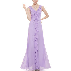 Custom V-Neck Sleeveless Floor Length Chiffon Ruffle Bridesmaid Dress